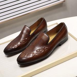 Image 4 - FELIX CHU Streetแฟชั่นผู้ชายLoaferลื่นบนหนังแท้สีน้ำตาลCasualธุรกิจรองเท้าแต่งงานรองเท้าMens
