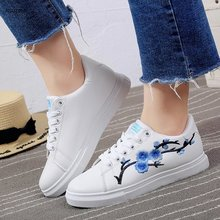 fashion women shoes PU leather 2019 good quality flats breathable flower causal sneaker sport z245