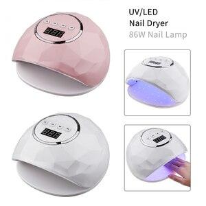 Image 2 - 86W UV LED Lampe DIY Hause Nagel Kunst Trockner 39 Pcs LED Gel Polnisch Schnelle Aushärtung Nagel Lampe Smart auto Sensor Timer Maniküre Maschine
