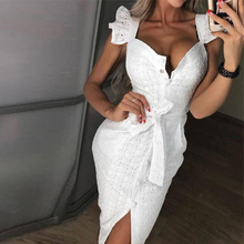 Woman Hollow Out Ruffles Buttoned Dress Lace Square Neck Wrap Belt Knee-length Bodycon Dress Slim Fit Summer Elegant Club Dress embroidered ruffles half buttoned mini dress