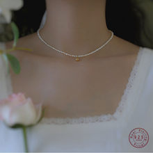 925 argent Sterling Vintage doré à la main ronde perle pendentif collier femmes d'eau douce perle clavicule chaîne bijoux cadeau