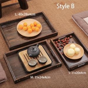 Image 5 - Powieść Paulownia drewniana taca taca herbaciana taca śniadaniowa prostokątna drewniana chińska gniazdująca zestaw tac