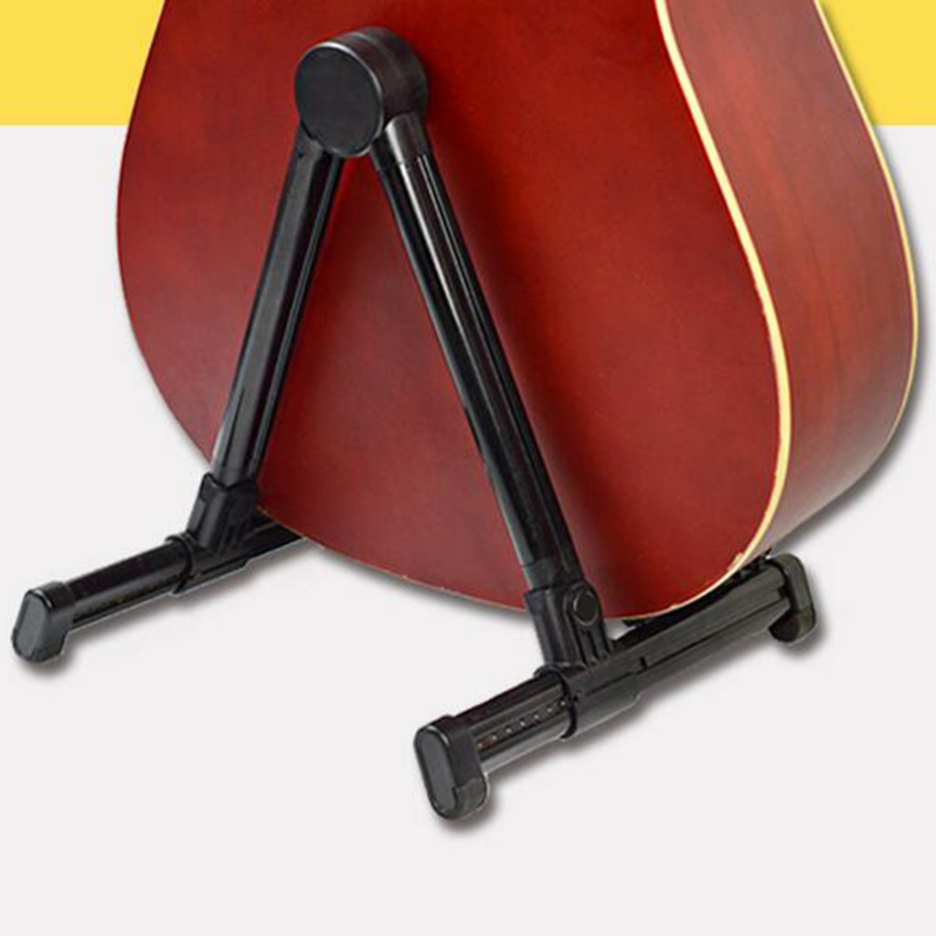 Practical Plastic Floor Stand Support Foldable Adjustable Lightweight Black For Acoustic/Electric Guitars Part