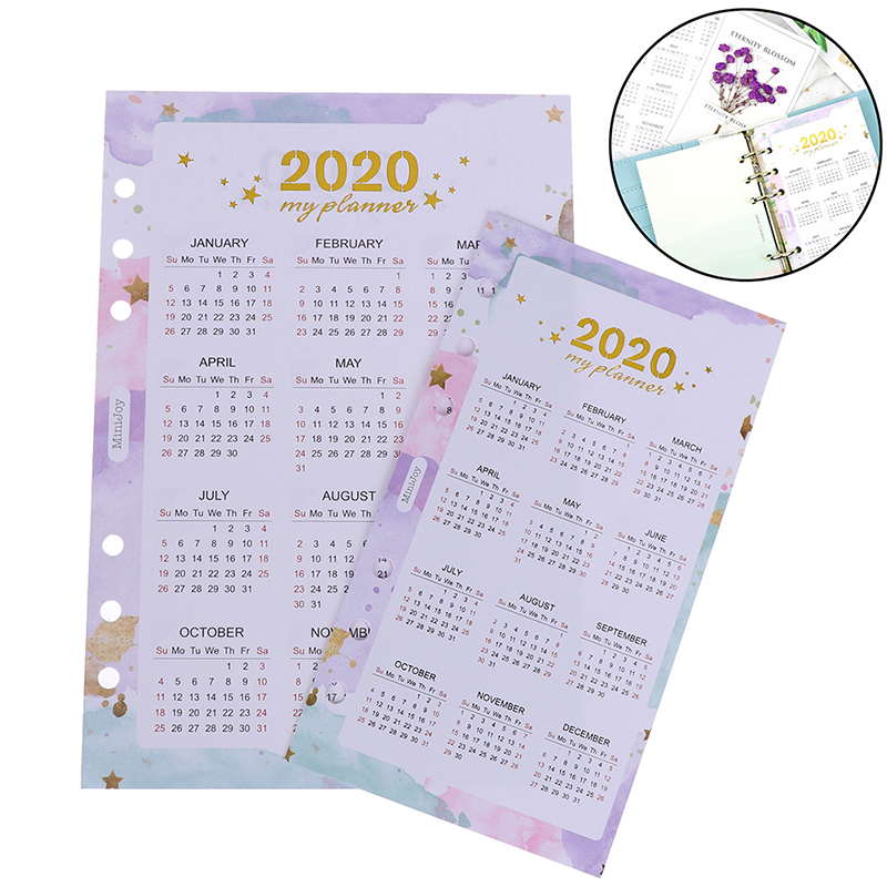 <font><b>2020</b></font> Year <font><b>Calendar</b></font> Index Dividers Watercolor Refill For 6 Hole Loose-leaf A5 A6 Binder Spiral Notebook Diary School Stationery image
