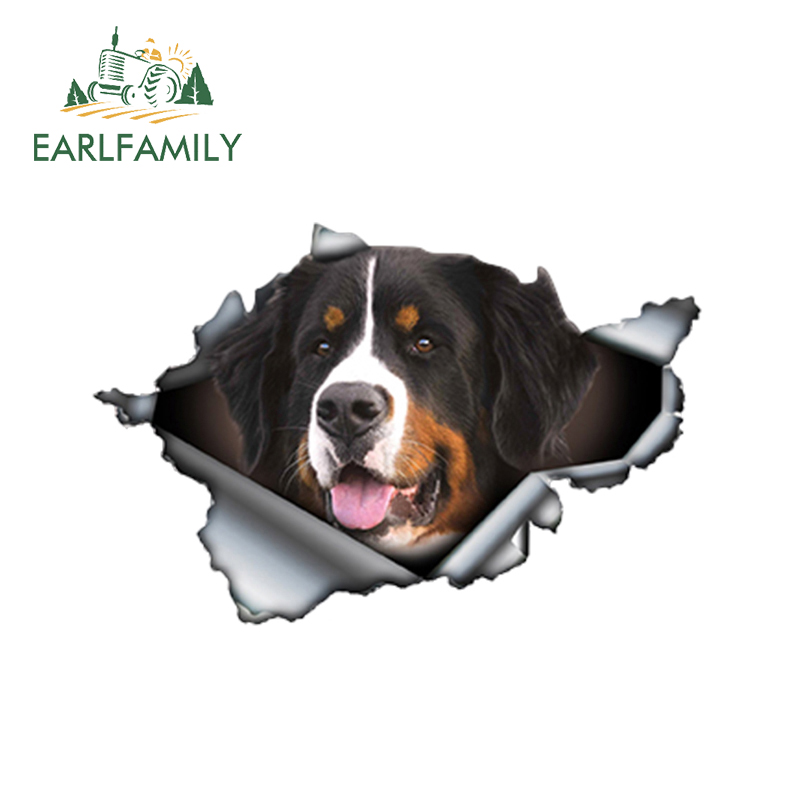 EARLFAMILY 13cm X 8.6cm Bernese Mountain Dog Car Sticker Torn Metal Decal Reflective Stickers Waterproof Car Styling Pet Decals
