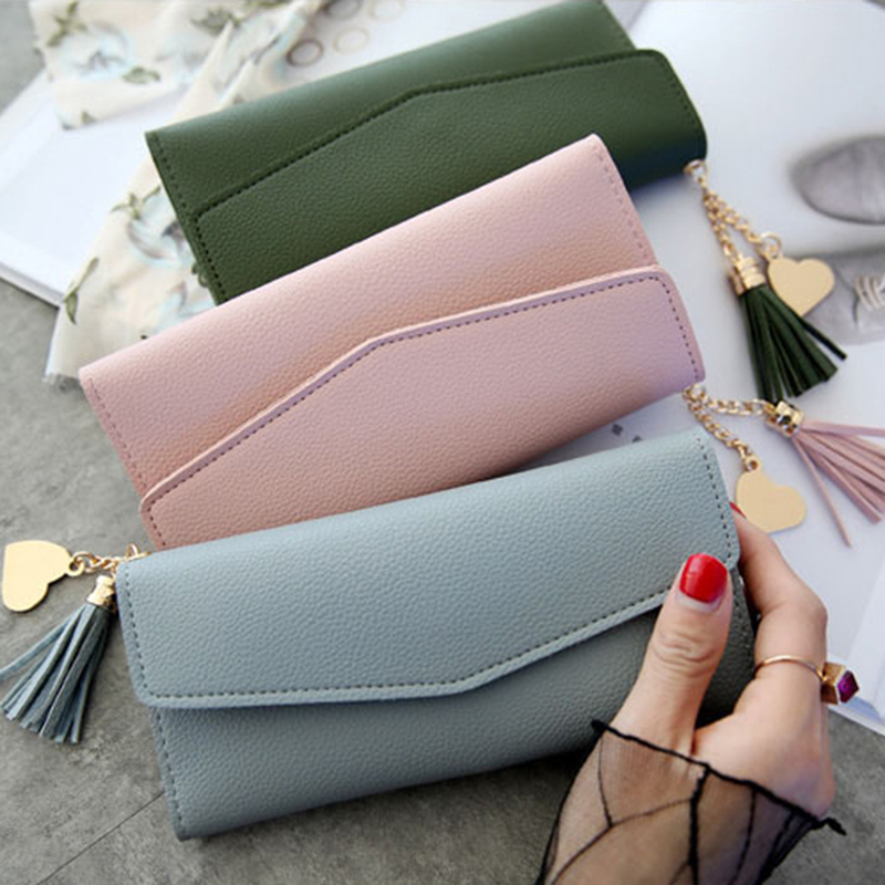 BONJEAN Women's Wallet Purses Tassel Coin Purse Card Holder Wallets Female Pu Leather Clutch Money Bag Pu Leather Wallet BJ2029