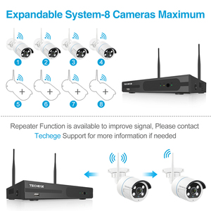 Image 2 - Techege 8CH NVR Kit 1080P Wireless CCTV Security Camera System Two Way Audio 2MP Waterproof Outdoor WIFI Video Surveillance Kit