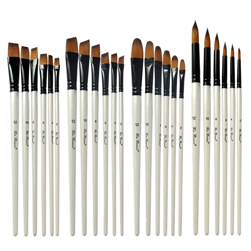 Two-tone Nylon Hair Brush Pearl White Wood Pole For Oil Paint For Hair Watercolor Brush For Beginners 6 Pcs/set Art Paint Brush