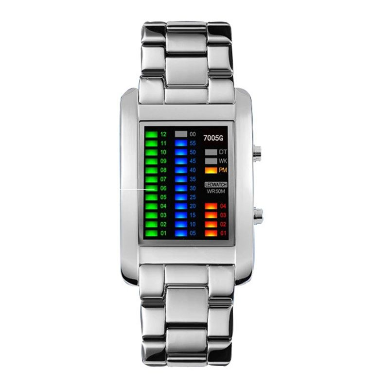 Electronic Watches For Men And Women Models Of High Quality Alloy Binary Watches LED Lights Electronic Watches