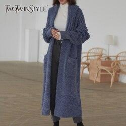 TWOTWINSTYLE Casual Stricken Pullover Weibliche Revers Kragen Langarm Hohe Taille Lose Strickjacken Für Frauen 2020 Mode Kleidung