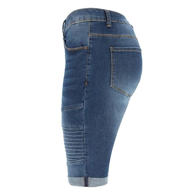 Denim Bermuda Shorts Donne di Mezza Vita di Lunghezza Del Ginocchio Elastico Shorts Estate Curvy Stretch Moto Brevi Dei Jeans Dei Pantaloni 3