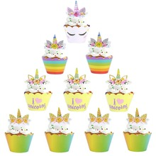 Unicorn Cake Topper Decorations Wrapper Birthday Party Kids Wedding Decor for Decorating Supplies