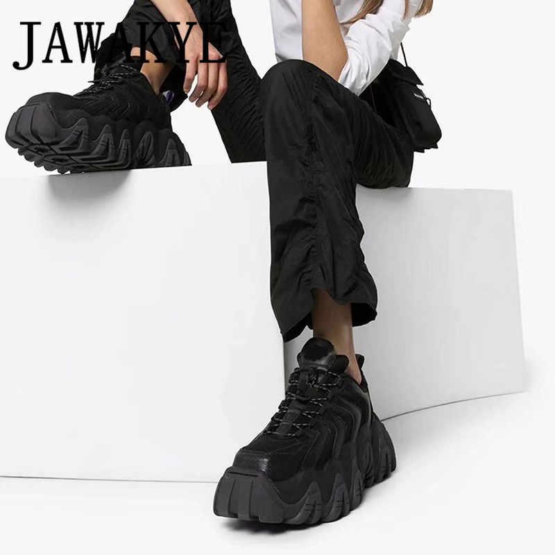 Yeni Platform loafer ayakkabılar kadın siyah örgü ayakkabı kalın alt yüksekliği artan ayakkabı kızın rahat daireler bahar yeni ayakkabı