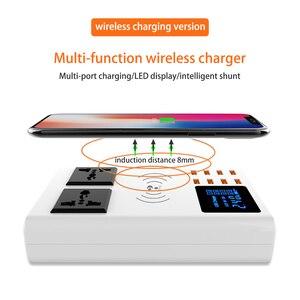 Image 4 - 8 USB bağlantı noktaları hızlı şarj soketi, led ekran ile cep telefonu duvar usb priz için iphone 6 7 8 7 artı X xiaomi