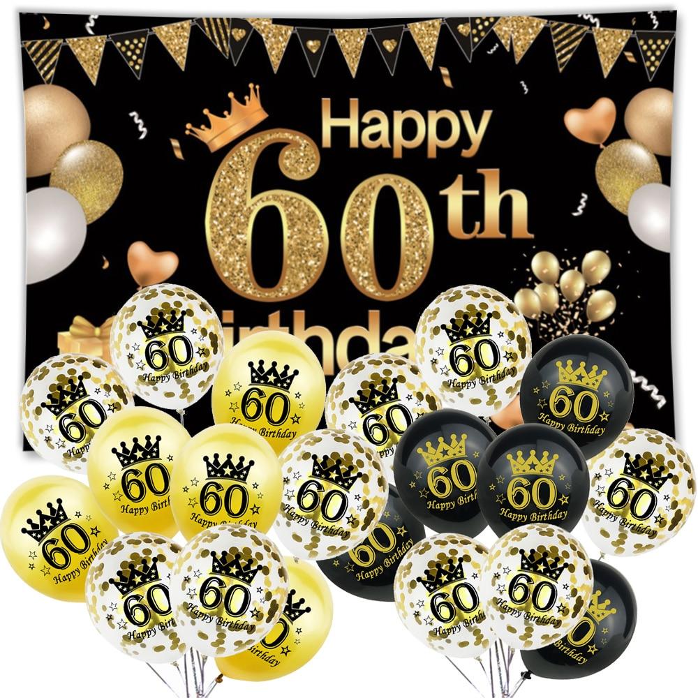 120*80cm 60th Feliz cumpleaños Fondo tapiz decoración adulto 60 años de edad fiesta aniversario Arco Iris número globos de papel de aluminio de látex