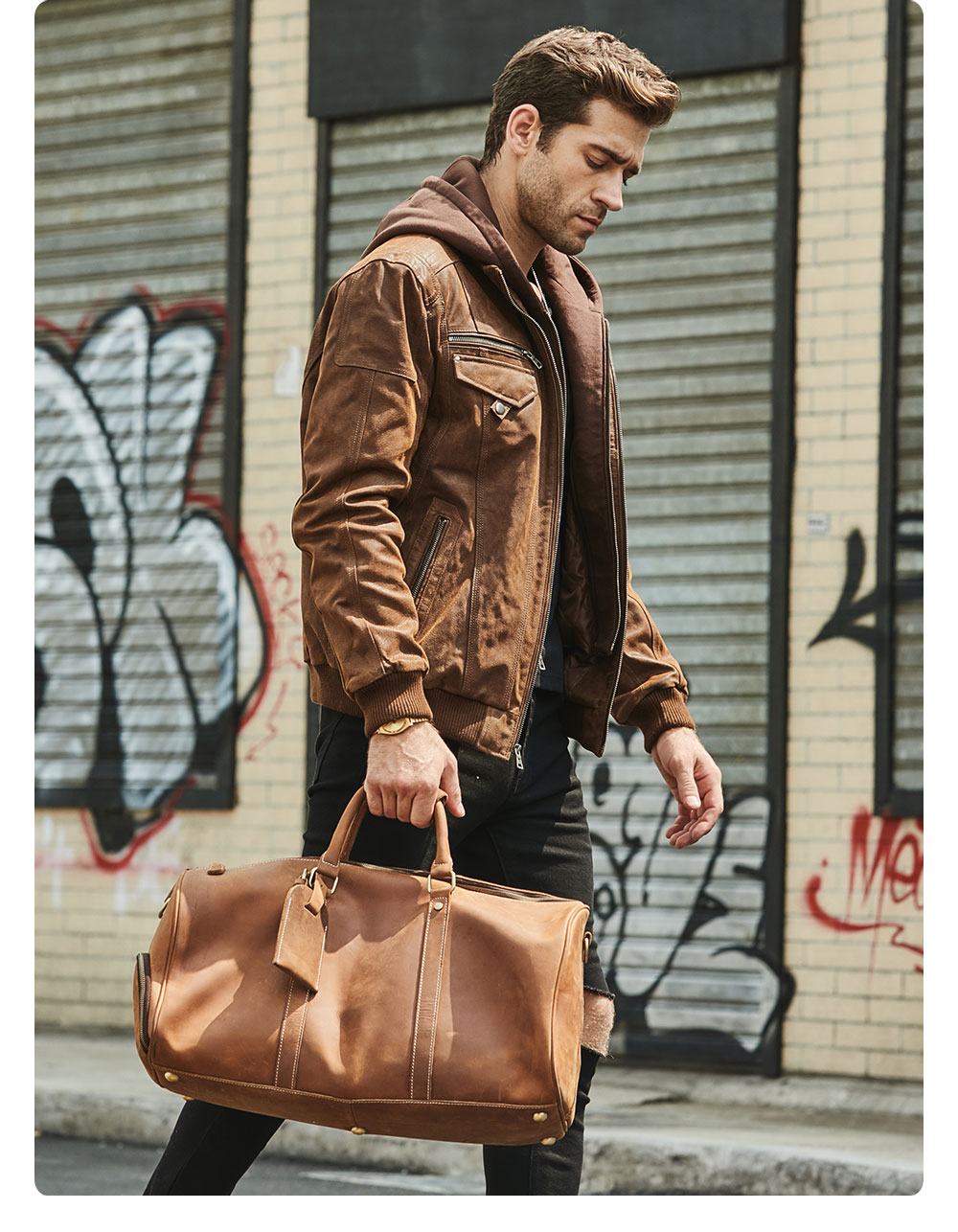 Heb374904524d4fe99bbc20a02d530a004 FLAVOR New Men's Real Leather Jacket with Removable Hood Brown Jacket Genuine Leather Warm Coat For Men