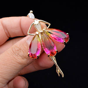 Brooches Cindy Xiang Omber-Color Gift Cubic-Zirconia Fashion Women Copper for Ballet