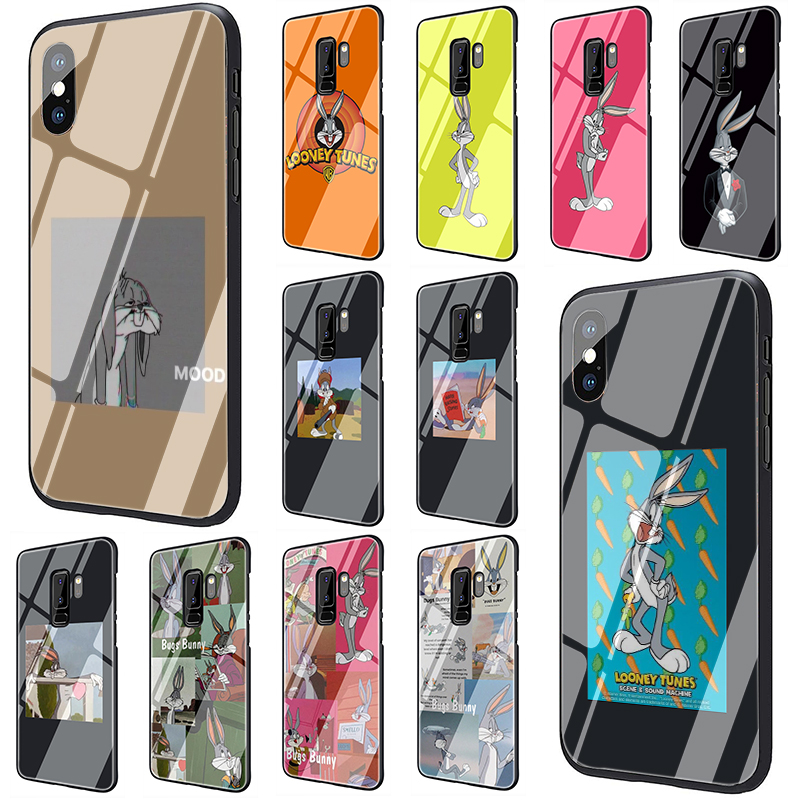 Cartoon Bugs Bunny Tempered Glass Phone Case for Samsung S7 edge S8 9 10 Note 8 9 10 plus A10 20 30 <font><b>40</b></font> <font><b>50</b></font> <font><b>60</b></font> 70 image