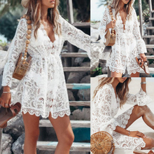 2019 Hollow Out White Dress Sexy Women Mini Chiffon Dress Cross Semi-sheer Plunge V-Neck Long Sleeve Crochet Lace Dress burgundy plunge cami mini dress with lace details