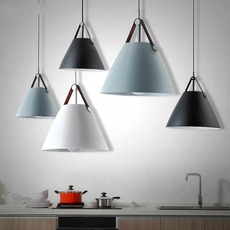 Nordic Modern Led Pendant Ceiling Lamps Black Gray Master Bedroom