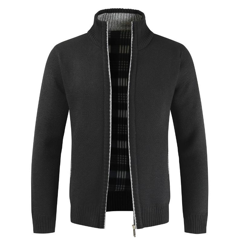 Men's Winter Fleece Sweatercoat Faux Fur Wool Sweater Jackets Men Zipper Knitted Thick Coat Casual Knitwear Streetwear Coats