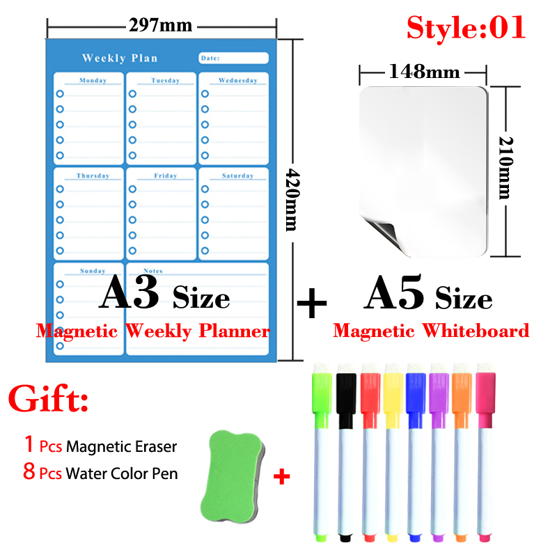 12 Styles A3 Size Magnetic Monthly&Weekly Planner Table and A5 Size Whiteboard Calendar Dry Erase White Board Fridge Sticker