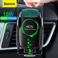 Baseus 15W Qi Wireless Car Charger for iPhone Samsung S8 S9 Wireless Charging Air Vent Mount Mobile Holder Stand Sensor Clamping