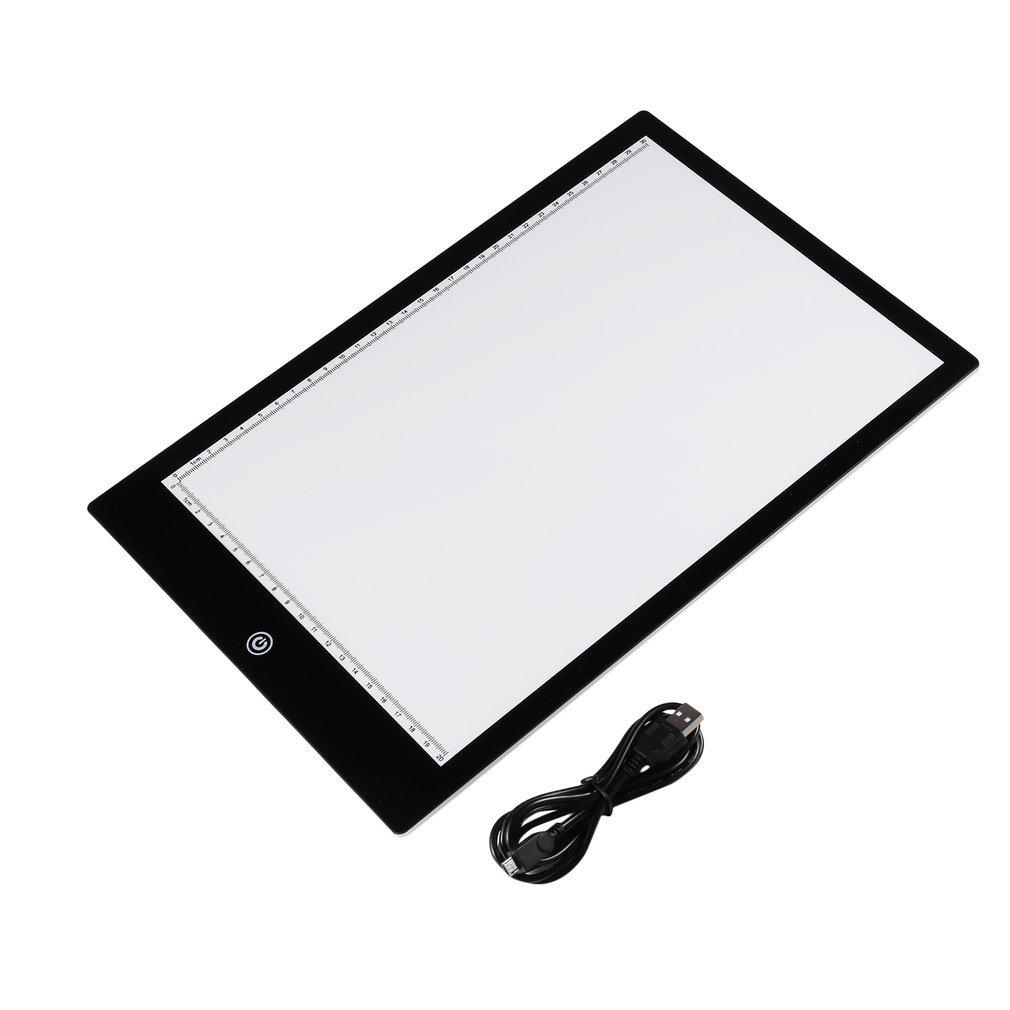 Acrylic 5mm Super Thin A4 Size Flicker-Free LED Drawing Copy Tracing Stencil Board Table Tattoo Pad Translucent Light Box USB