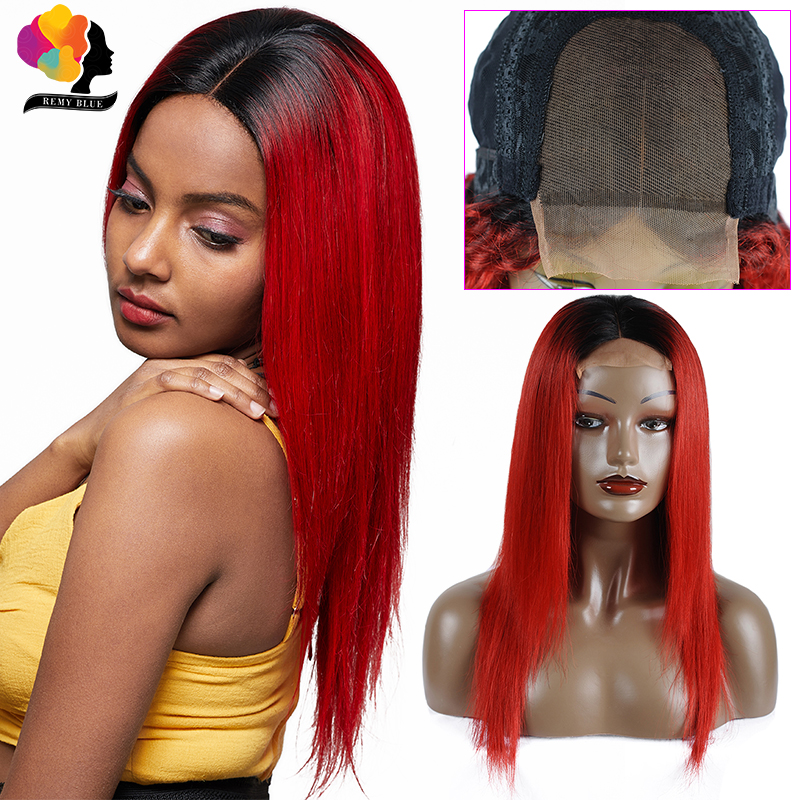 Remyblue Red Hair Wigs 4*4 Lace Closure Wigs Ombre Brazilian Straight Human Hair Wigs With 180% Density Remy Human Hair Lace Wig