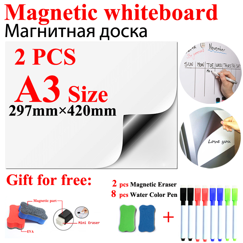 2PCS A3 Size Magnetic Whiteboard 8 Pens 2 Eraser Flexible Vinyl Home Office Kitchen Magnet Dry Erase White Board Fridge Boards