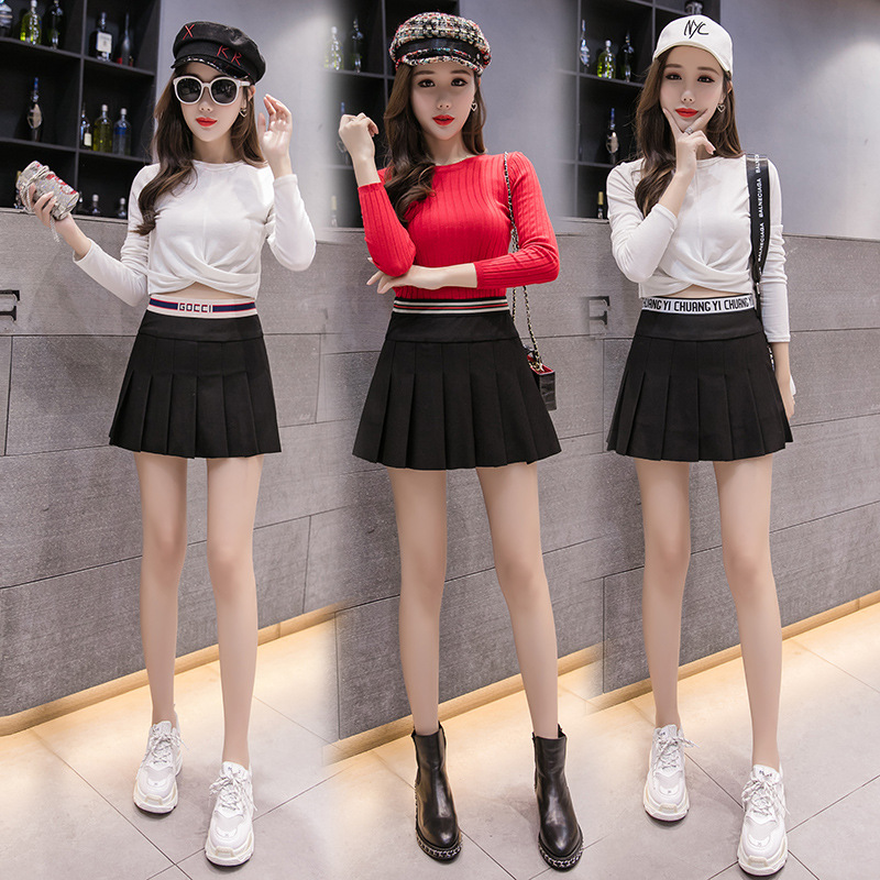 Clothing Autumn & Winter New Style Women's High-waisted Pleated Short Skirt College Style Ulzzang Korean-style Skirt A-Piece