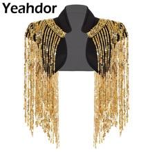 Fashion Womens Open Front Sparkle Long Sequin Tassels Short Cropped Vest Nightclub Waistcoat Hip hop Dance Wear Cover Up Wrap