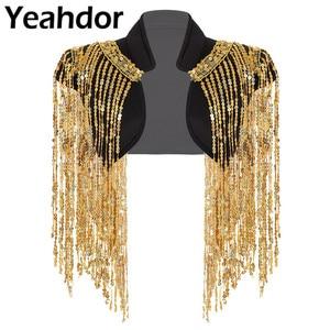 Image 1 - Fashion Womens Open Voor Sparkle Lange Sequin Kwasten Korte Cropped Vest Nachtclub Vest Hip Hop Dance Wear Cover Up wrap