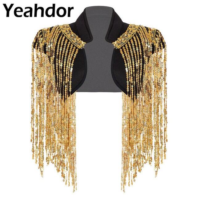 Fashion Womens Open Voor Sparkle Lange Sequin Kwasten Korte Cropped Vest Nachtclub Vest Hip Hop Dance Wear Cover Up wrap