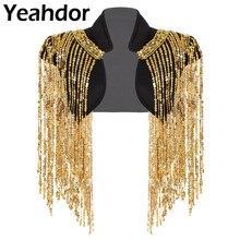 Moda feminina frente aberta brilho longo lantejoulas borlas curto recortado colete boate hip hop dança wear cobrir envoltório