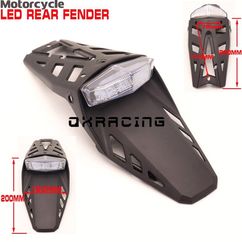 Otomobiller ve Motosikletler'ten Gidon'de Evrensel portatif motosiklet Enduro Trailbikes LED arka lisans çamurluk kuyruk işık Honda XR400 CRF250 CRF450