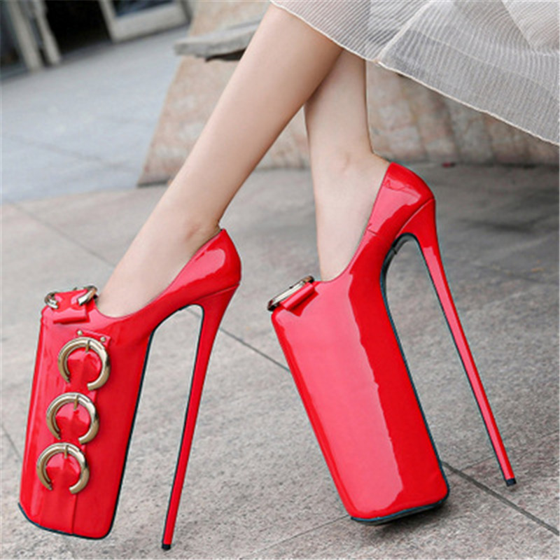 Big Size 35-44 45 46 Nightclub Pole dance Super <font><b>30CM</b></font> High <font><b>Heels</b></font> 20cm Platform Lady Party Sexy SM Women Shoes Metal Buckle Pumps image