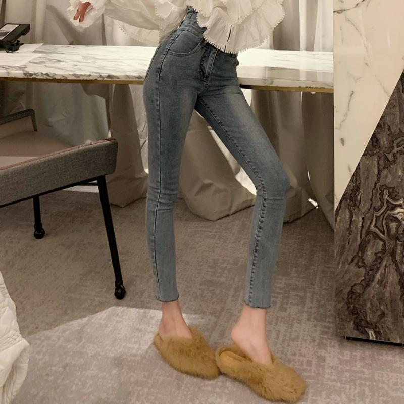 2019 Spring Clothing New Style High-waisted CHIC Pants Jeans Slimming Students Pencil Trousers Tight-Fit Skinny Pants WOMEN'S Dr