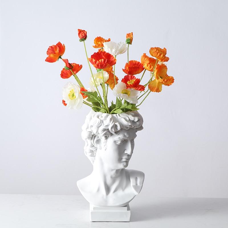 Michelangelo Buonarroti David Head Portraits Resin Imitation Gypsum Vase Living Room Plants Flower Pot Ornaments Craftwork X1520