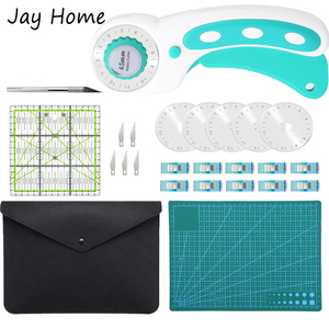 25PCS Rotary Cutter Tool Kit 45mm Rotary Cutter & Leather Cutting Mat & Patchwork Ruler & Sewing Clips for Fabric Quilting Craft