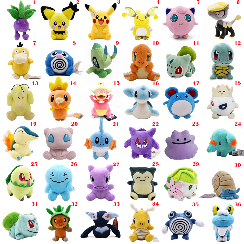 36 Styles Anime Doll Pikachu Poliwag Bulbasaur Charmander Lapras Snorlax Stuffed Peluche Plush Toy Christmas Gift For Children