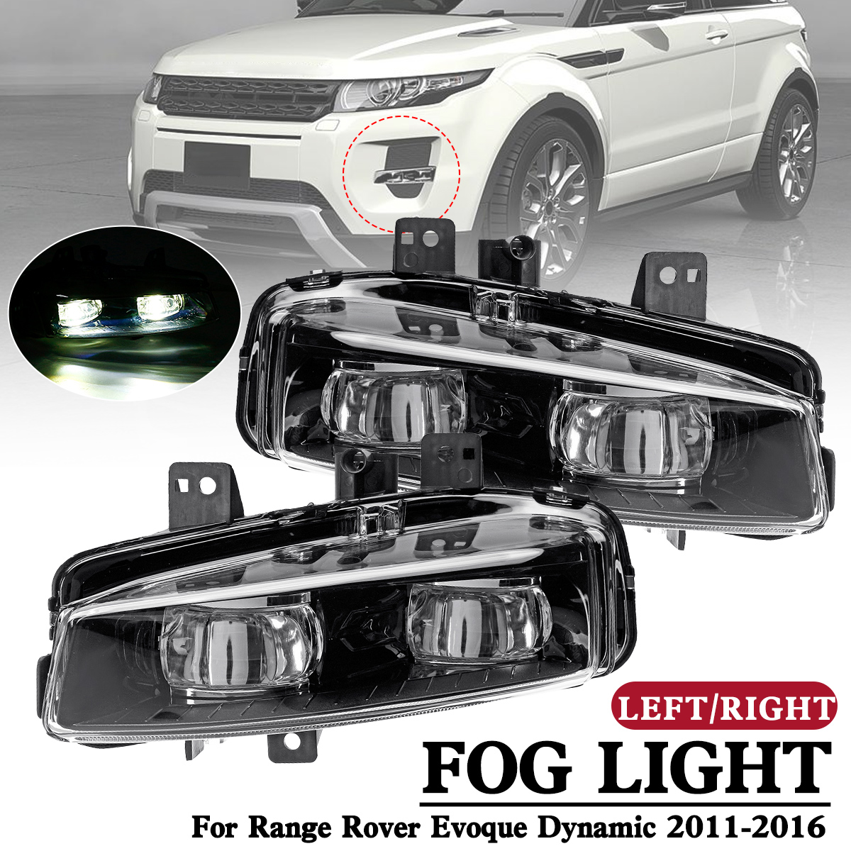 1 Pair Car front left Right Bumper Fog Light Lamp with bulb Replacement for Range Rover Evoque Dynamic 2011 2012 2013 14-16