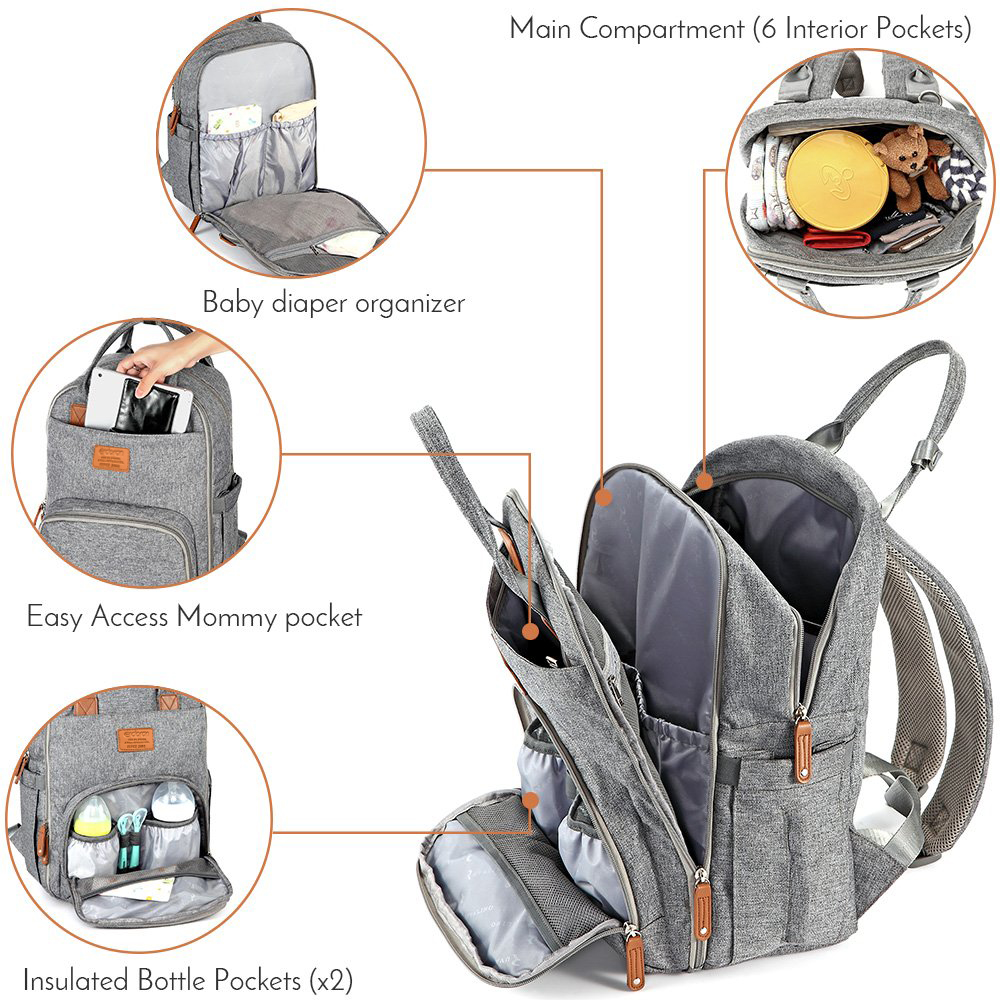 Diaper Bag Backpack Multifunction Travel Back Pack Maternity Baby Changing Bags Large Capacity Waterproof and Stylish Gray Bag (Diaper bag and pad)