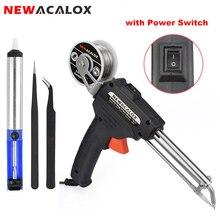 NEWACALOX 220 в 60 Вт EU Автоматическая отправка оловянного пистолета, Электрический паяльник, паяльная станция, насос для распайки, сварочный инструмент, паяльная проволока