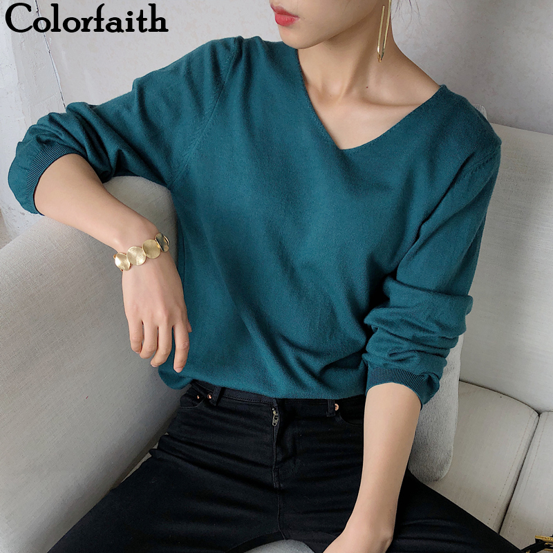 Colorfaith 2019 New Autumn Winter Women Sweater-pullovers Minimalist Knitting Elegant Ladies Solid Multi Colors Tops SW1910