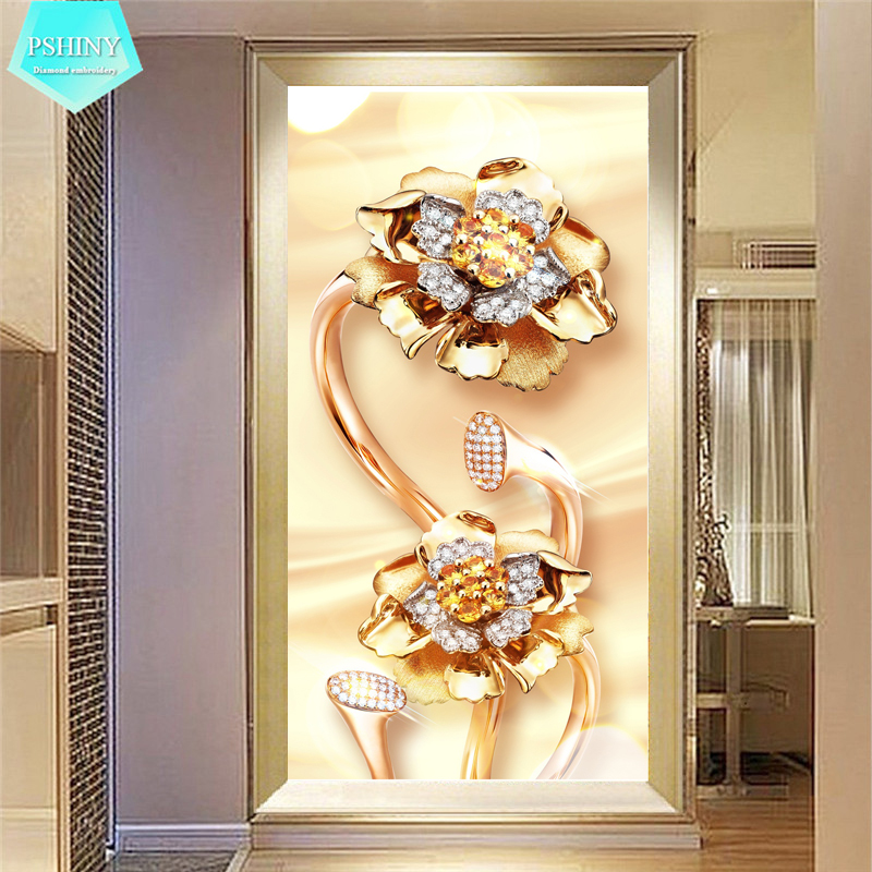 PSHINY 5D DIY Ոսկե ծաղիկներով ադամանդե նկարներ Նկարներ ՝ ամբողջ էկրանով կլոր զարդանախշերով