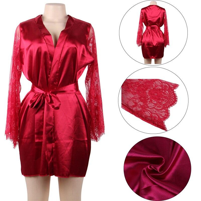 Image 5 - Comeonlover Womens Robes Sleepwear Lace Satin Sexy Conjunto Robe Chemise With Waist Belt Plus Size 5XL Bride Bathrobe RE80556Robes   -