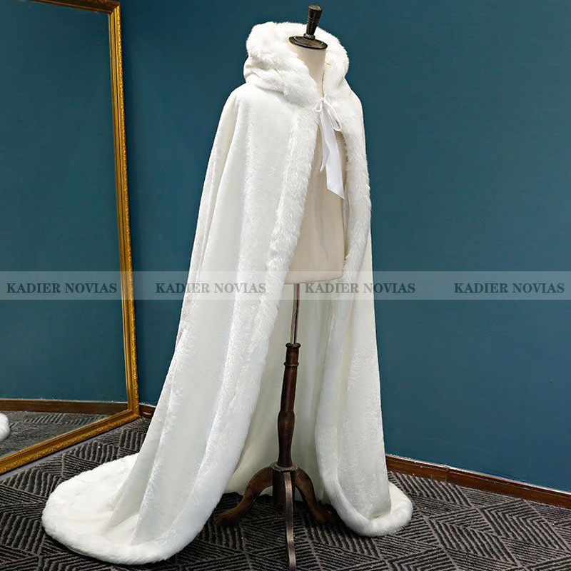 KADIER NOVIAS Long Winter warm Wedding capes white wedding cloak Floor Length Bride shawl Faux fur cape coat Bridal Wrap