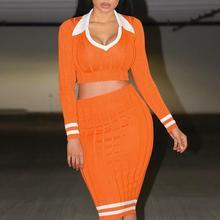 Женский костюм из 2 предметов, спортивный костюм, женский комплект, вязаные свитера, 2 шт., длинный рукав, с отворотом, укороченный топ, юбка