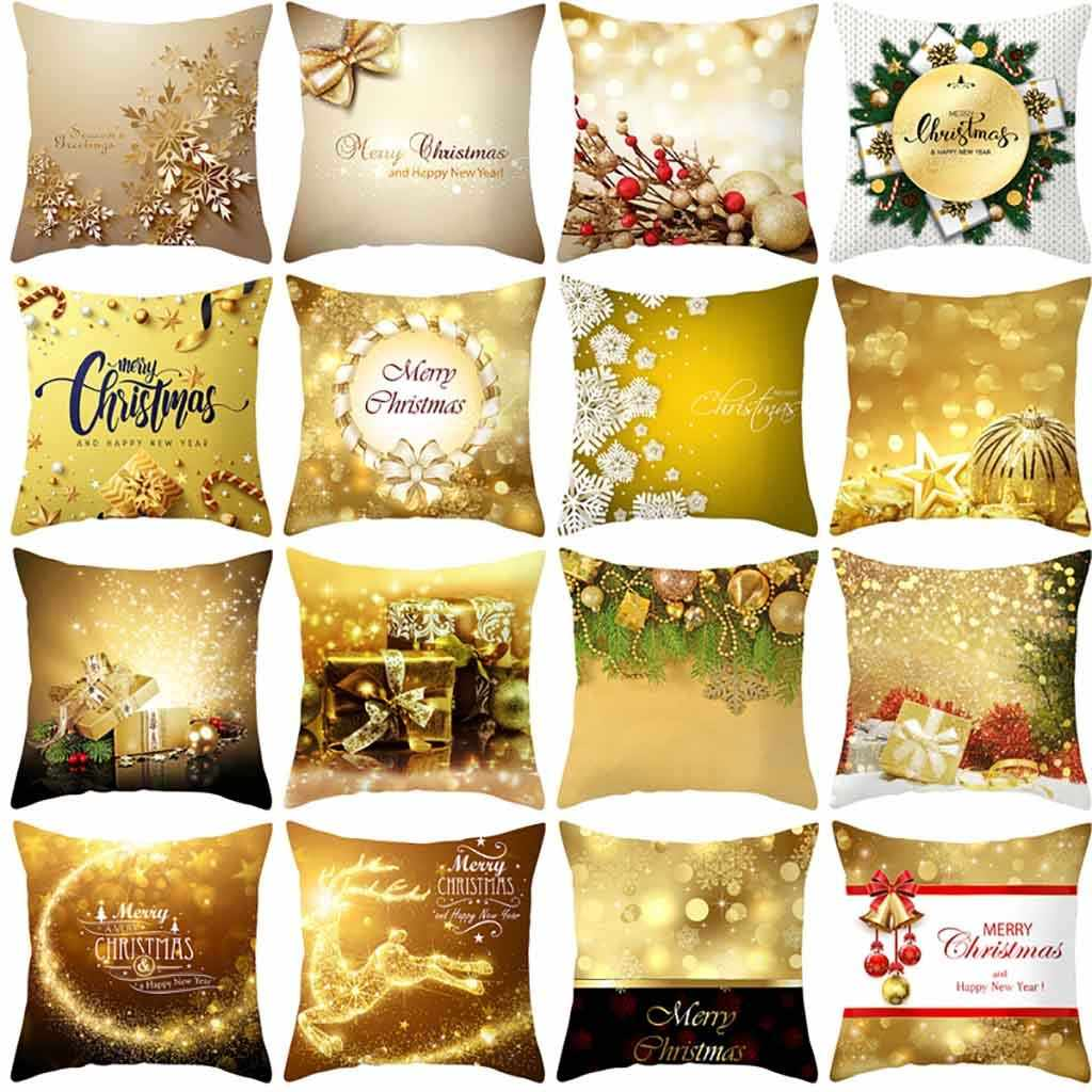 Nordic Golden Leaf Print Pillowcase Decorative Letter Christma Pillow Case Glitter Polyester Sofa Throw Cushion Cover Home Decor